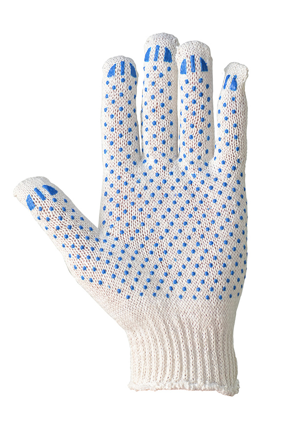 Cotton gloves with PVC coating, white, 10 class, STANDARD