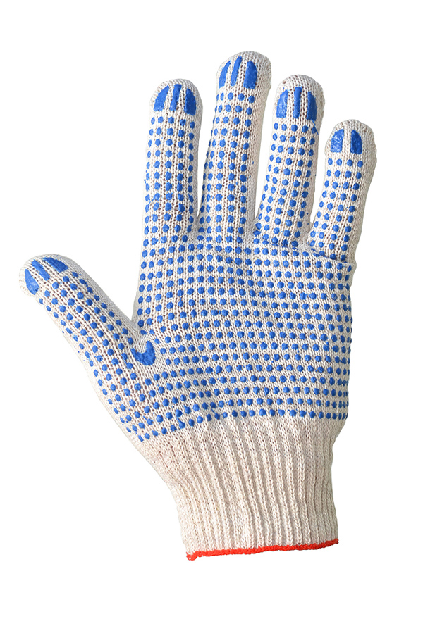 Cotton gloves with PVC coating, white, 10 class, PREMIUM