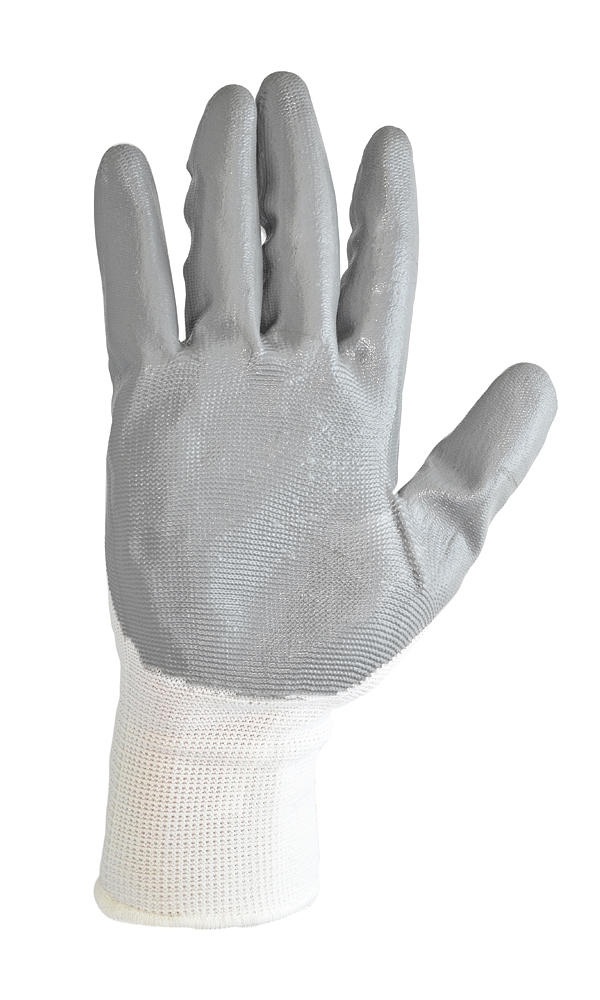 Knitted nylon gloves with nitrile coating