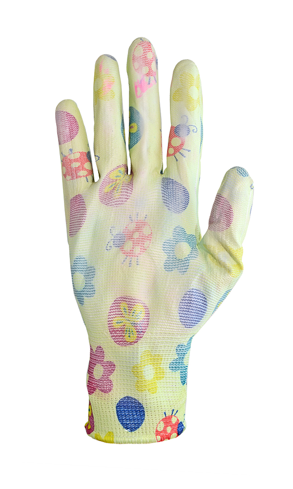 Nylon gloves with polymer coating for garden work