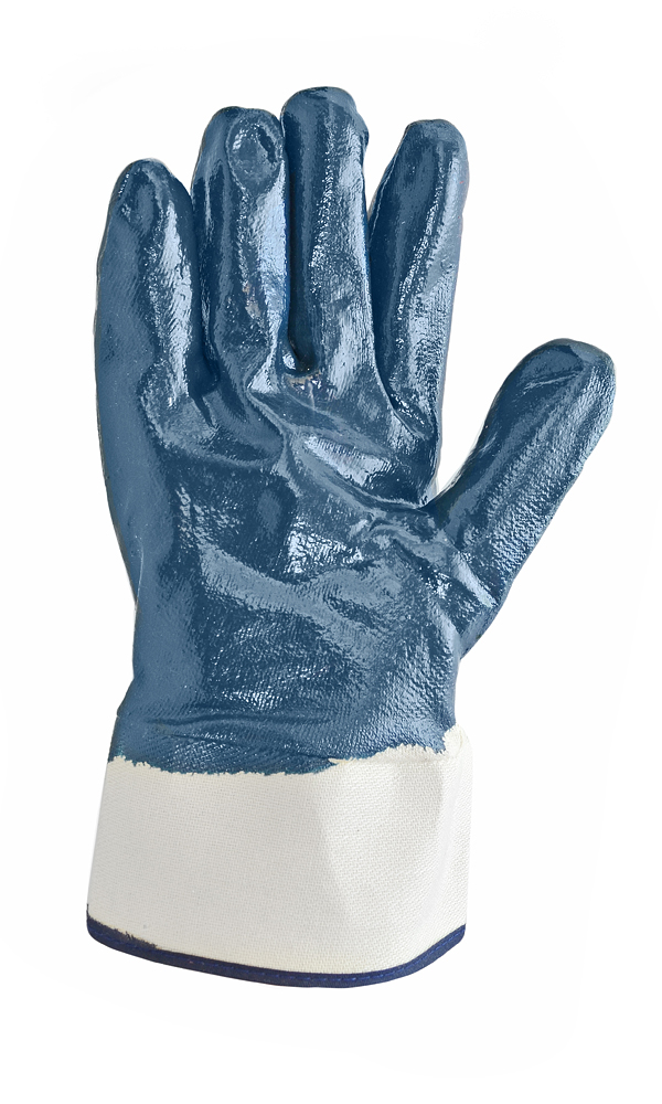 High-strength gloves with a double nitrile coating. Nitrile-gauntlet