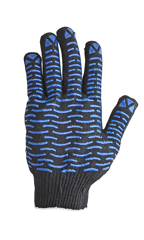 Cotton gloves with PVC coating, black, 10 class