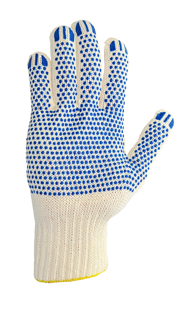 Cotton gloves with PVC coating, white, 10 class, LUXE