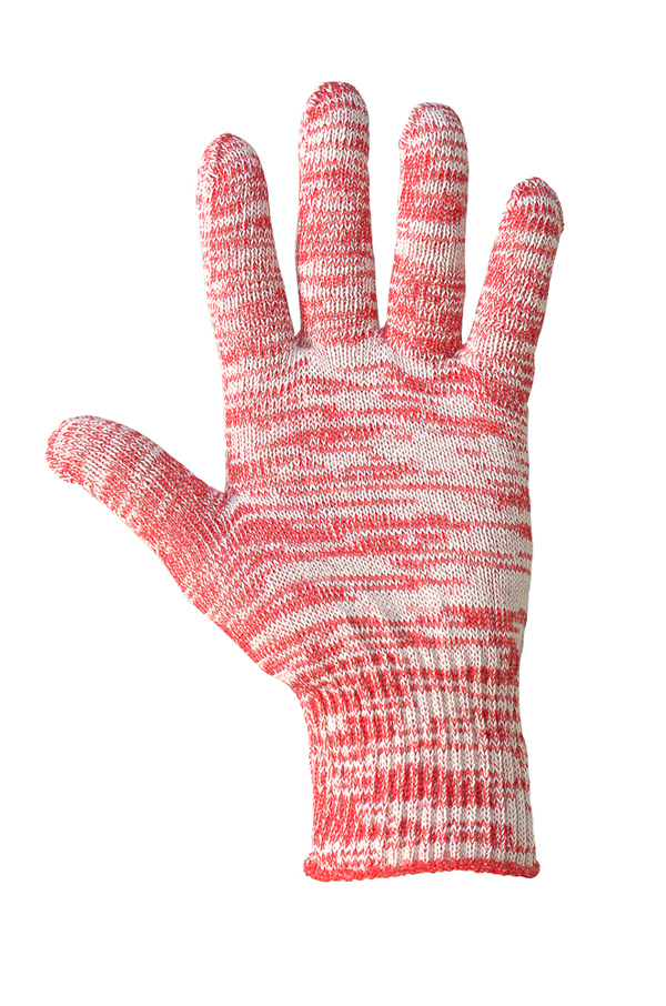 Cotton gloves without PVC coating, melange, 10 class
