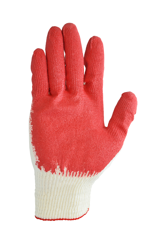 Cotton gloves with single latex flow coating, 13 class