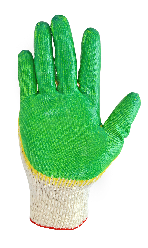 Cotton gloves with double latex flow coating, 13 class