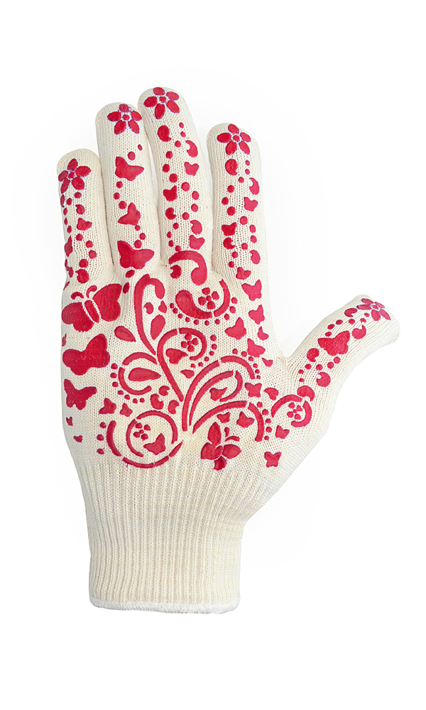 Cotton gloves with PVC coating Flowers
